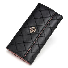 2017 Cute Crown Luxury Trifold Plaid Leather Women Brand Long Wallet Wristlet Female Clutch Purse Phone Coin Card Holder Cuzdan недорго, оригинальная цена