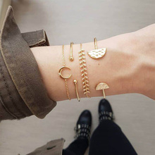 цена Fashion Gothic Gold Charm Bracelets Woman Hollow Leaves Geometric Moon Chain Link Female Cuff Bracelet Set Party Jewelry Gifts онлайн в 2017 году