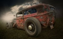 Living room home wall decoration sill fabric large poster Hot Rod retro red street sports car