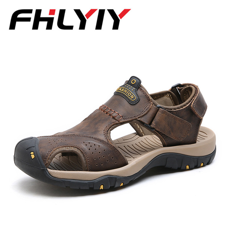 New Fashion Genuine Leather Soft Men Sandals For Men Shoes Breathable Light Beach Summer Shoes Casual Quality Walking Sandals