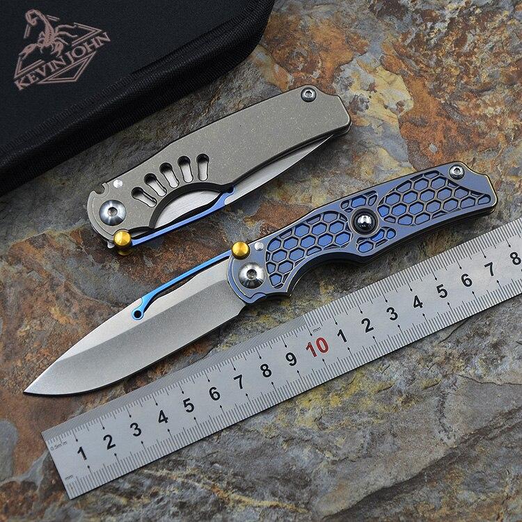 Kevin john NOUVEAU Tilock couteau Pliant de haute qualité en plein air couteaux Titane poignée M390 poche Couteau de survie Tactique EDC outils
