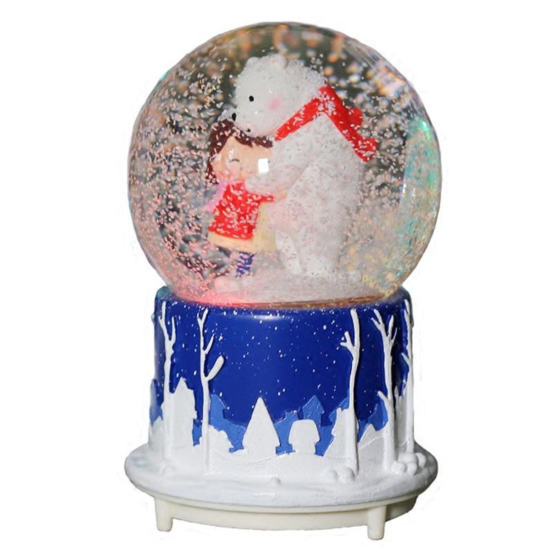 Couple créatif avec ours boule de cristal résine artisanat flocon de neige rotation boule de cristal boîte à musique ornement décor à la maison cadeau de noël