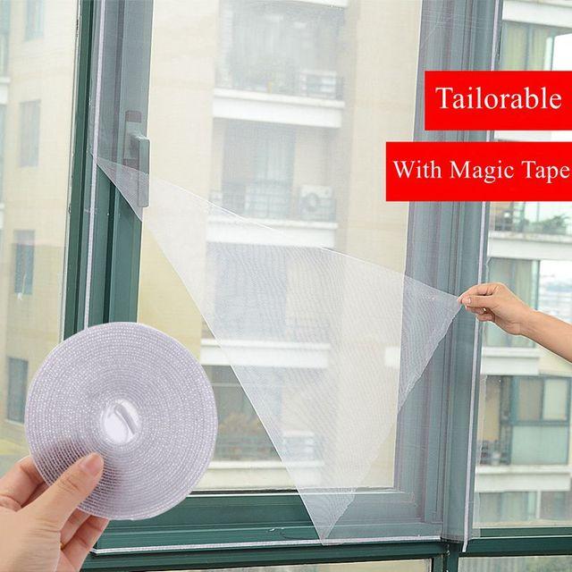 White Door Window Gauze Net Magic Tape 2Pcs/Set Mesh Netting Insect Fly Bug Screen & White Door Window Gauze Net Magic Tape 2Pcs/Set Mesh Netting Insect ...