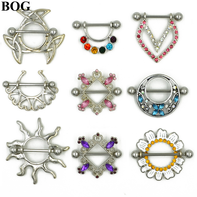 BOG-1 Pair Stainless Steel Nipple Ring Nipple Shield Piercing Jewelry Sexy Body Jewelry For Women