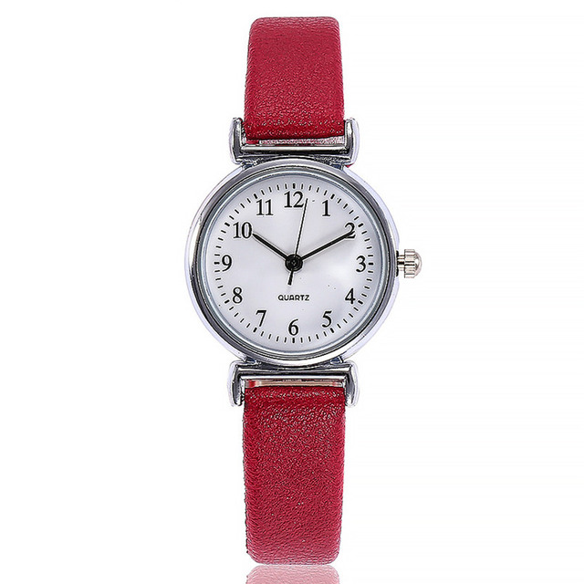 Small Dial Leather Band Analog Movement Wrist Watch 1