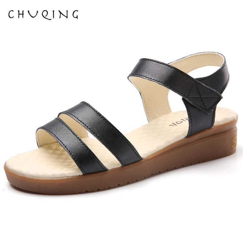 Flat Sandals Female Shoes Peep-Toe Fashion Soft CHUQING Bottom