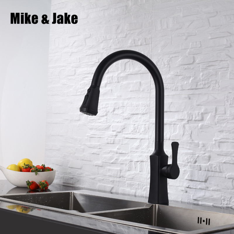 Pure black pull down kitchen faucet square brass kitchen mixer sink faucet mixer kitchen faucets pull out kitchen tap MJ3002 цена 2017