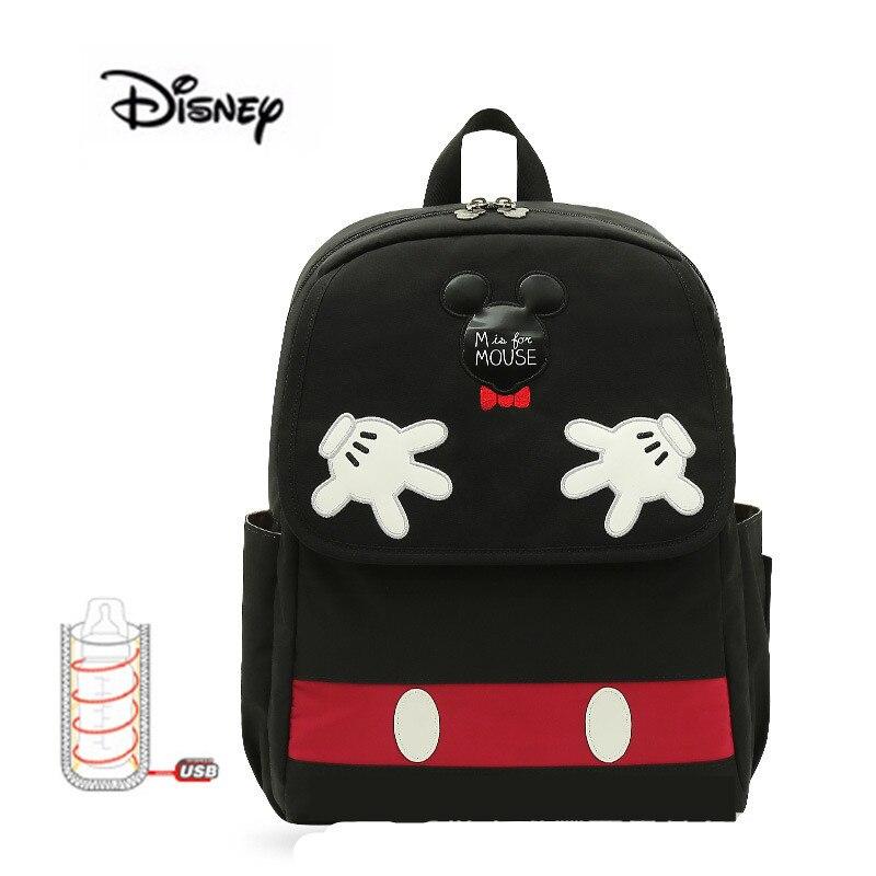 Offre spéciale Disney USB chauffage maternelle poussette sac Nappy sac à dos maternité sac maman sac Cartoon bébé noir Minkey sacs à couches