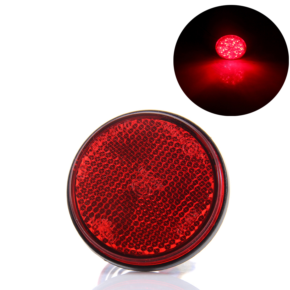 1pc Round Motorcycle Tail Light Rear Bumper Reflector LED Motor External Light Brake Stop Lamp 12V For Car Motor Truck #1696