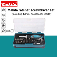 Japan Makita Ratchet Screwdriver Set (Including 47PCS Accessories Inside) Hand Operated Tools Screwdriver Wrench Batch Head