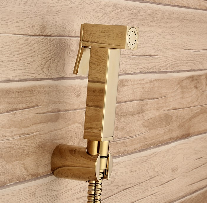 With 7/8*7/8*1/2 T-adapter diverter Golden brass Sprayer hand held toilet gold bidet spray shattaf toilet shower head jet set цена
