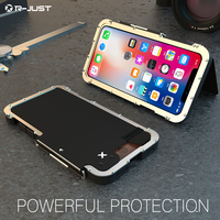 R JUST Phone Case For Apple Iphone X XS MAX Flip Aluminum Metal Frame+PC 360 Protective Armor case For Iphone8 7Plus 6s Original