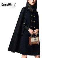 Skinnwille venta Caliente botón Bolsillos largo acordeón completa sólido abrigo de lana de abrigo de invierno abrigo de Otoño invierno de la moda