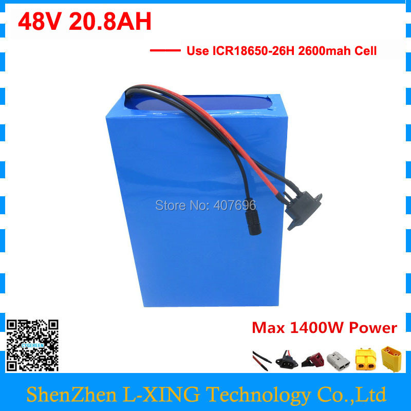 1000W lithium battery 48V 20AH 20.8AH ebike battery 48Volt electric bike battery use for samsung cell with 30A BMS 2A Charger free shipping 48v 30ah 2000w lithium electric bike battery use for samsung 3000mah cell with 54 6v 2a charger and 50a bms