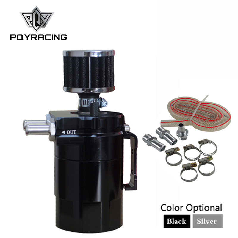 Universal Aluminum Oil Catch Tank Can Reservoir Tank + Breather Filter Black / silver PQY-TK64 все цены