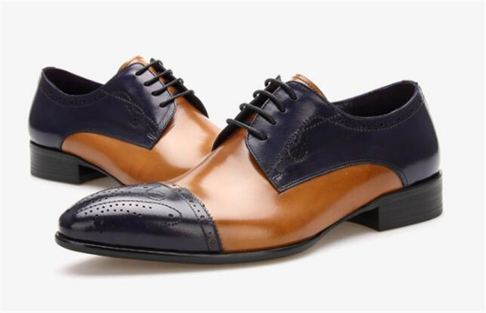 Mens shoes dress leather British carved Brogue shoes mens hair stylist pointed toe slip-on personality patchwork shoesMens shoes dress leather British carved Brogue shoes mens hair stylist pointed toe slip-on personality patchwork shoes