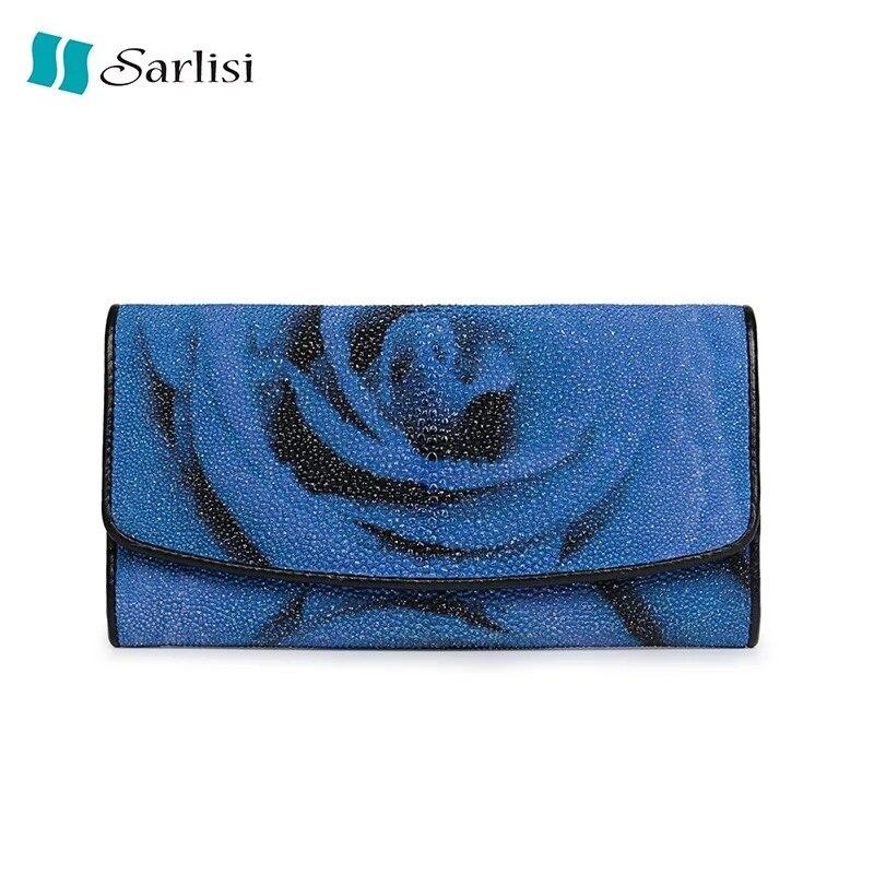Благородный Синий Чародейка печать Дизайнер Женский Большой кошелек Таиланд натуральной кожи ската Для женщин Trifold бумажник отделение для