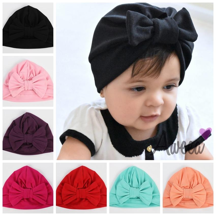 Nishine 1PCS Cotton Blend Hair Bow Knot Kids Turban Hat Big Ear Knot Newborn Beanie Caps Headwraps Birthday Gift Photo Props