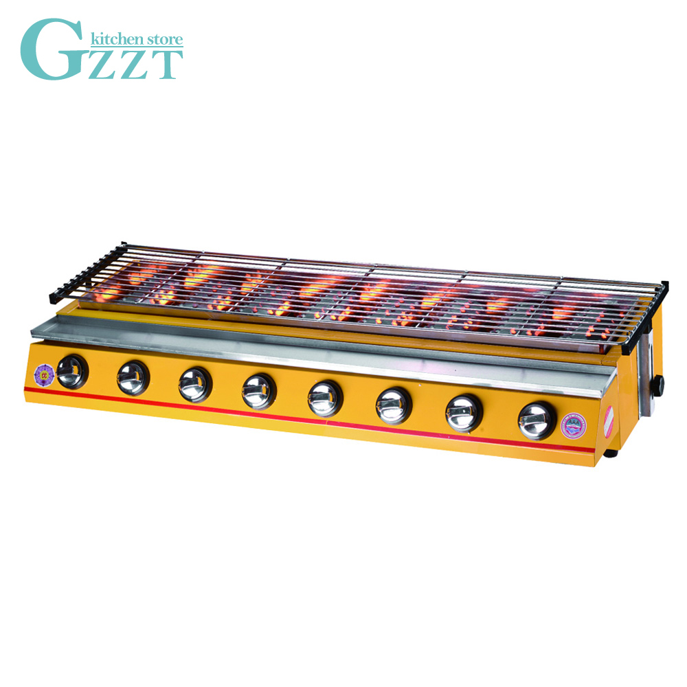 Commercial 8 Burners BBQ Gas Grill LPG Yellow/Silver Adjustable Height Smokeless Barbecue Pinic