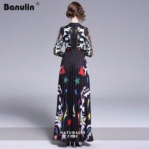 Image 5 - Banulin 2019 Pist Uzun Maxi Elbise Kadınlar Yüksek Kalite Büyüleyici Çiçek Uzun Kollu Patchwork Zarif Vintage Kat Uzunluk Elbise