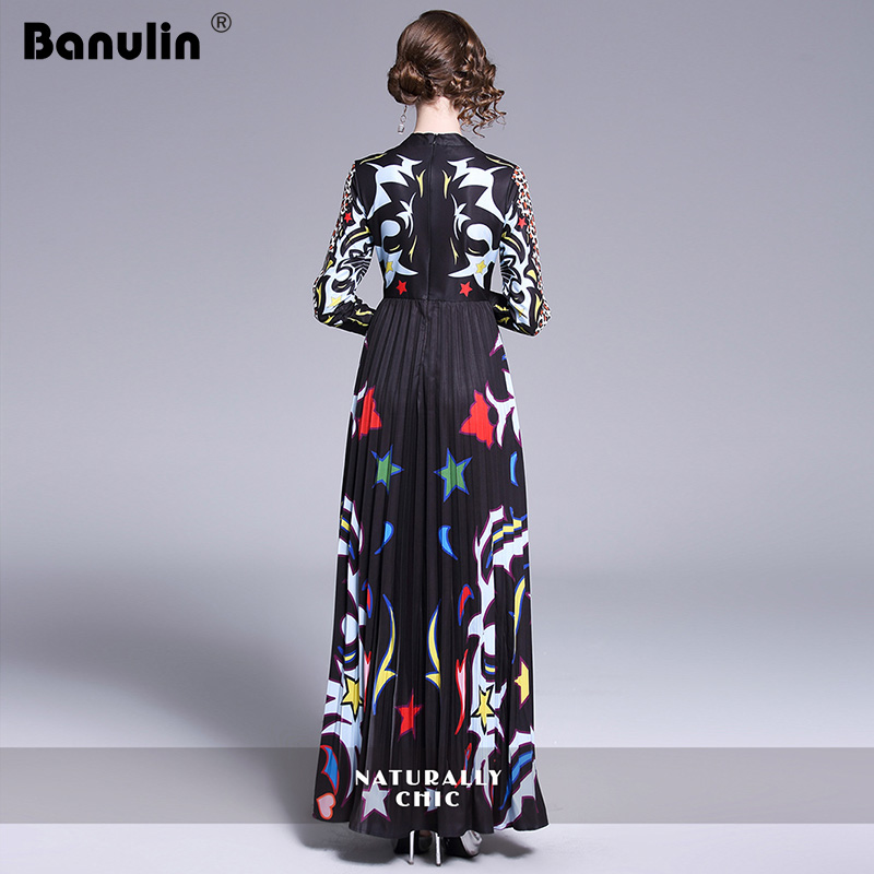 Banulin 2019 Runway Long Maxi Dress Women High Quality Charming Floral Long Sleeve Patchwork Elegant Vintage Floor Length Dress in Dresses from Women 39 s Clothing