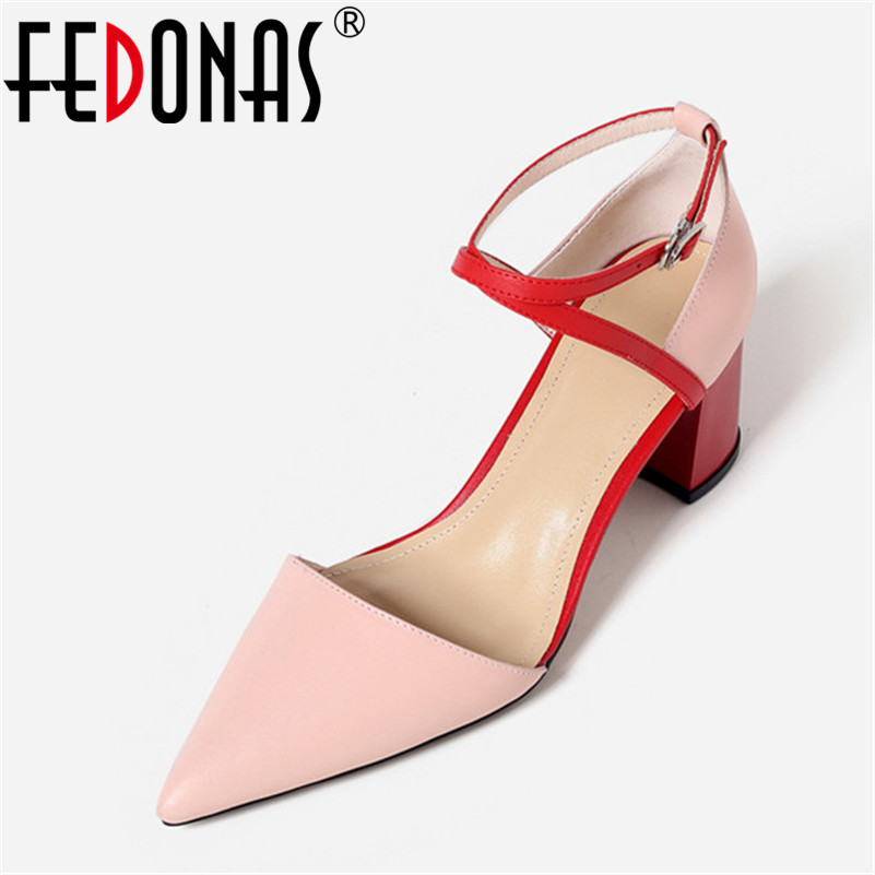 FEDONAS Women Sandals High Heels Summer Genuine Leather Shoes Woman Sexy Ankle Strap Party Wedding Ladies Sandals Female Pumps women shoes 2018 summer women pumps 10cm fashion gladiator sandals woman sexy shoes ankle strap ladies high heels party shoes