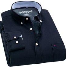חדש חורף חם חולצת גברים מקרית חולצות Slim Fit עבה אוקספורד שמלת חולצות מוצק צבע האופנה Camisa masculina תחתונית homme