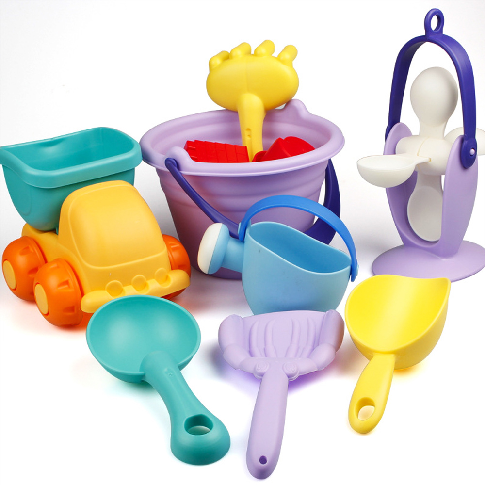 5-22pcs Soft Silicone Beach Toys For Children Summer Beach Sand Toys Bucket Rake Hourglass Water Table Play And Fun Shovel Mold
