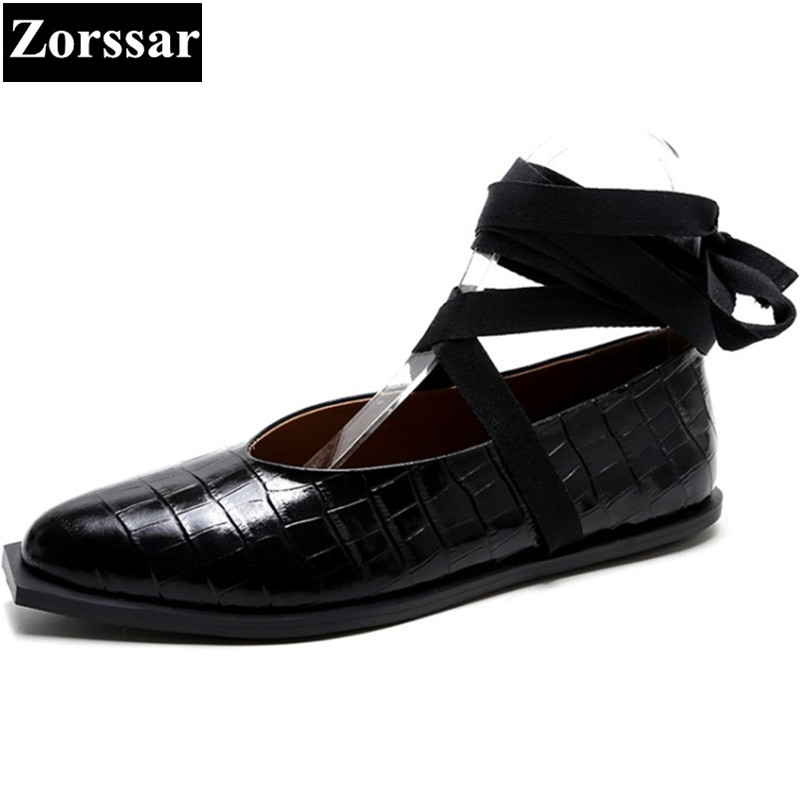 {Zorssar} 2018 NEW Fashion Cross-tied Women ballet flats Shoes pointed toe Woman Flat heel Casual comfortable Women Summer shoes meotina women flat shoes ankle strap flats pointed toe ballet shoes two piece ladies flats beading causal shoes beige size 34 43