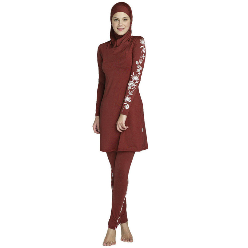New Burkinis Muslim Swimsuit Modest Clothing Islamic Separated Women Wear Long muslimah Swimwear Hijab Muslim Swimwears F40 2018 women scarf muslim hijab scarf chiffon hijab plain silk shawl scarveshead wrap muslim head scarf hijab