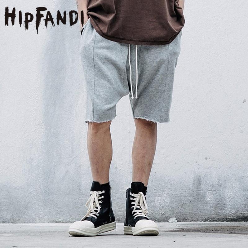 HIPFANDI Justin Bieber Cotton DraWstring Sweat Shorts Drop Crotch Mens Male Urban Short Pants Famous Brand