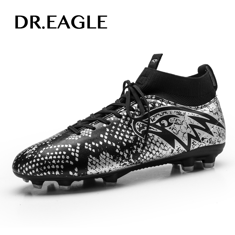 DR.EAGLE Soccer shoes men spike crampoon football boots high ankle football cleats sneakers, Football boot Soccer cleats недорго, оригинальная цена