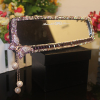 MUNIUREN Rhinestones Car Interior Rearview Mirror with Diamond Crystal Butterfly Car Rear View Mirror for Girls Auto Accessories