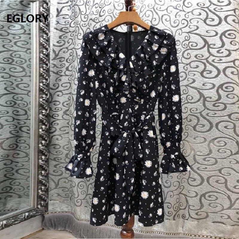 Haute qualité nouveau 2019 automne travail décontracté robe femmes v-cou tournesol impression à volants Patchwork à manches longues noir robe ceintures