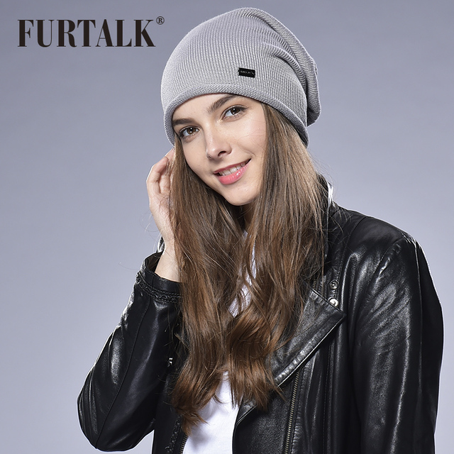 FURTALK Wool Woman Spring Autumn Women Hat knit Beanie Hat Cap for Girls Slouchy Hats for Woman Stocking Hat