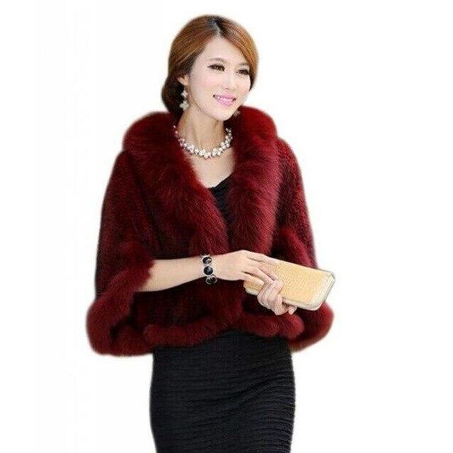 IANLAN Fashion Real Mink Fur Poncho for Women Casual Ladies Real Fox Fur Collar Shawls Free Size Knitted Fur Pashmina IL00006