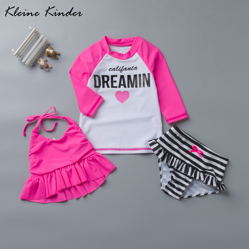 Swimsuits For Girls 3 Pieces Pink Kids Long Sleeve Rash Guard Upf50+ Toddler Swimwear Beach Teens Girl Bikini Set Bathing Suit