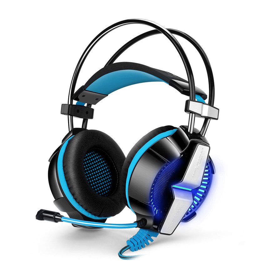 Gaming Headset PC with Omnidirectional Microphone Stereo Bass LED Light Headphone for PS4 USB LED Headphones Gamer Blue & Red rock y10 stereo headphone earphone microphone stereo bass wired headset for music computer game with mic