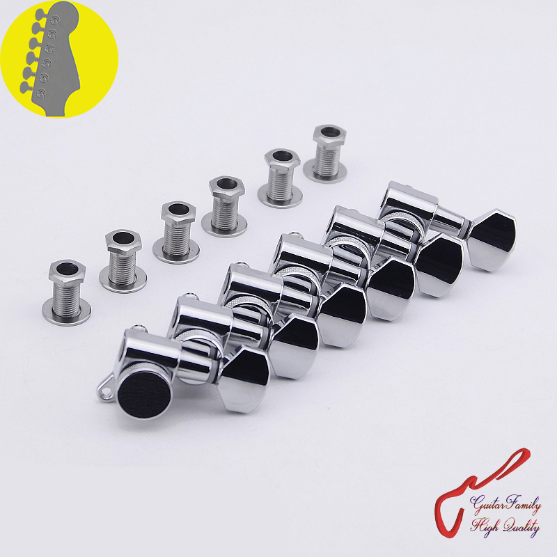 1 Set GuitarFamily  6 In-line  Locking Guitar Machine Heads Tuners  Chrome ( #0220 ) MADE IN KOREA 1 set guitarfamily 6 in line kluson vintage guitar machine heads tuners nickel made in korea
