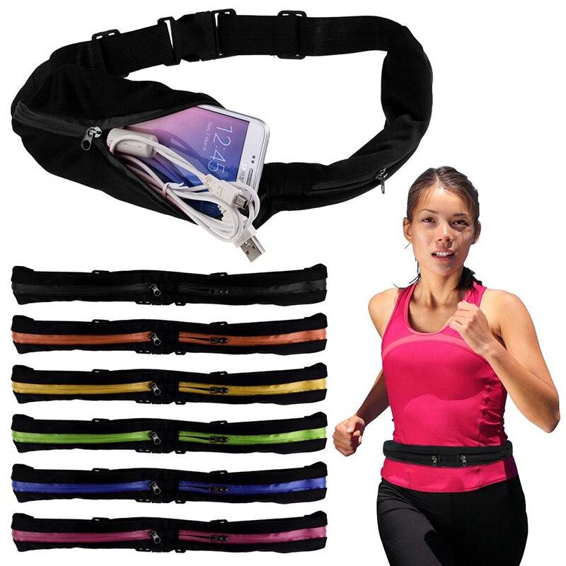 Mayitr Single Double Sports Waist Bum Bag Fitness Running Belt Pouch Travel Waist Pocket Jogging Sports Adjustable Strap Unisex