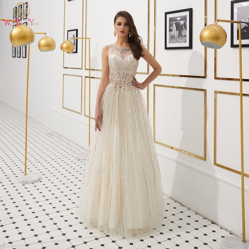Ivory Beading Evening Dress 2019 A Line Sleeveless Simple Long Keyhole Back Crystal Sequined Tulle Robe Femme Shiny Evening Gown