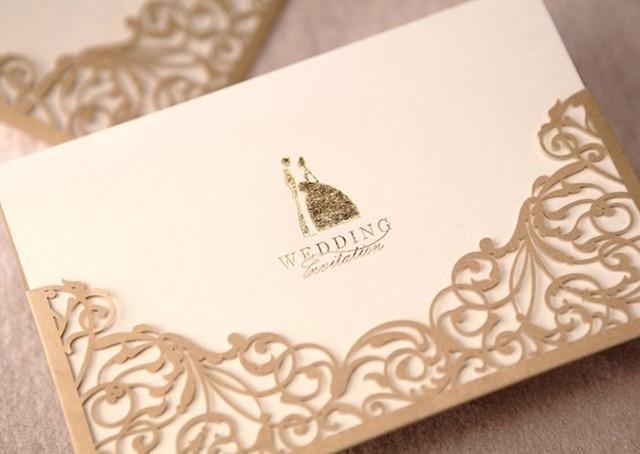 Exquisite GOLD laser cut wedding invitations cardCustomized bride
