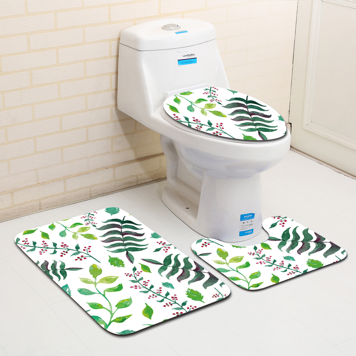 Zeegle Plants Leaf Printed 3Pcs Toilet Rug Set Bathroom Carpets Anti-slip Toilet Floor Rugs Shower Room Mats Bathroom Rugs Set