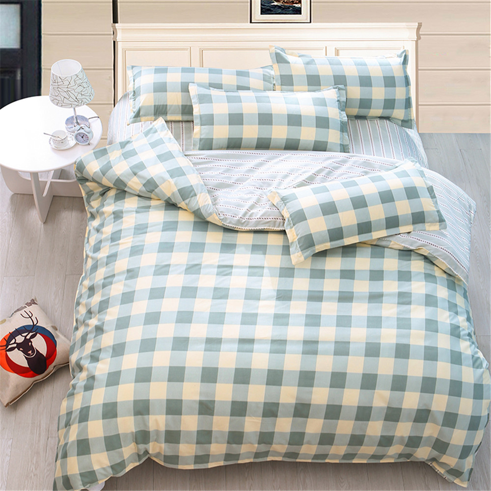 Simple bed sheets pattern - Simple Design Kids Adult Bedding Sets 4pcs Plaid Printed Duvet Quilt Cover Bed Sheet