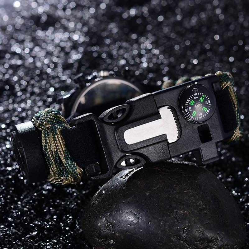 85af8e6a22a 6 em 1 Tactical Multi Relógio pulseira ajustável Corda de Resgate bússola  paracord Sobrevivência EDC Ao Ar Livre equipamentos de Camping Ferramentas  em ...