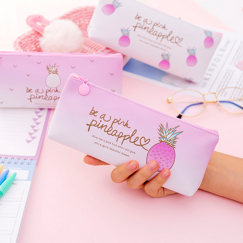 Kawaii Penal Cute Pineapple School Pencil Case For Girls Pen Bag Multifunctional Pencilcase Large Store Box Stationery Kit Pouch