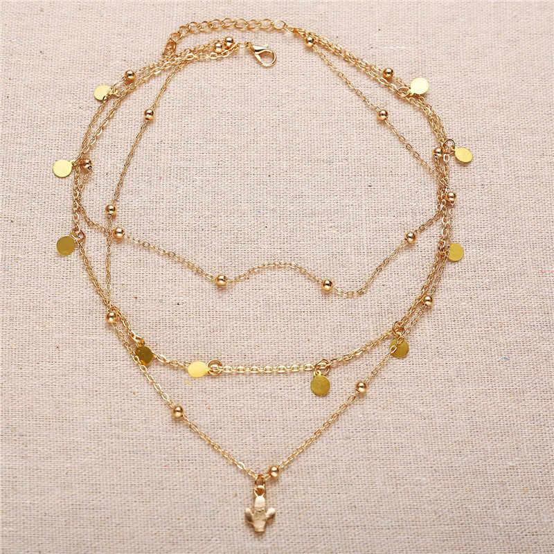 NEWBUY złoty łańcuszek Boho Choker naszyjnik dla kobiet wielowarstwowe kaktus geometryczne wiszące naszyjnik akcesoria imprezowe