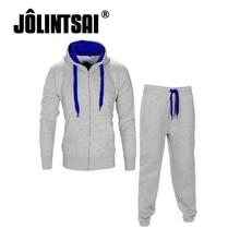 Jolintsai 2017 Hoody Männer Trainingsanzüge Sets Langarm Zwei stücke gesetzt fitness Casual Einfarbigen Pullover Männliche Sporting Anzug