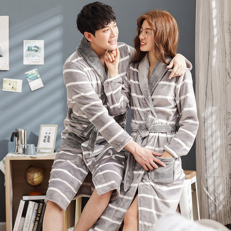 3bb20c960d Brand Winter Lovers Striped Robe Flannel Thickening Coral Fleece Couple  Sleep Lounge Bathrobe Women Bathrobes 3XL Home Clothing-in Robes from  Underwear ...