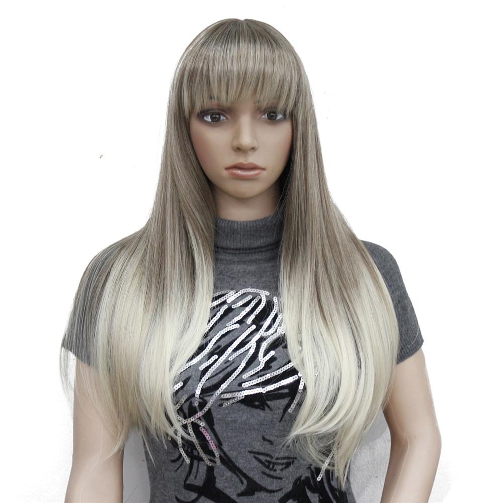 Image 4 - Perruque synthétique complète Ombre Blonde longue lisse  Perruque à frange soignée pour femmes, perruque Ombre pour femmesSynthétique Aucun-Dentelle Perruques   -